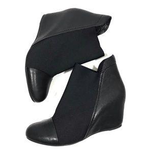 Gently Souls Fenton Black Leather Wedge Booties